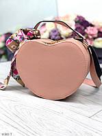 Женская розовая сумочка через плечо на длинном ремешке маленькая сумка кожзам пудра