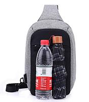 Городской рюкзак-антивор Bobby Mini с USB, Бобби, рюкзак через плечо Светло-синий, фото 6