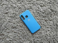 Силиконовый матовый чехол бампер с микрофиброй для Huawei P30 Lite голубой