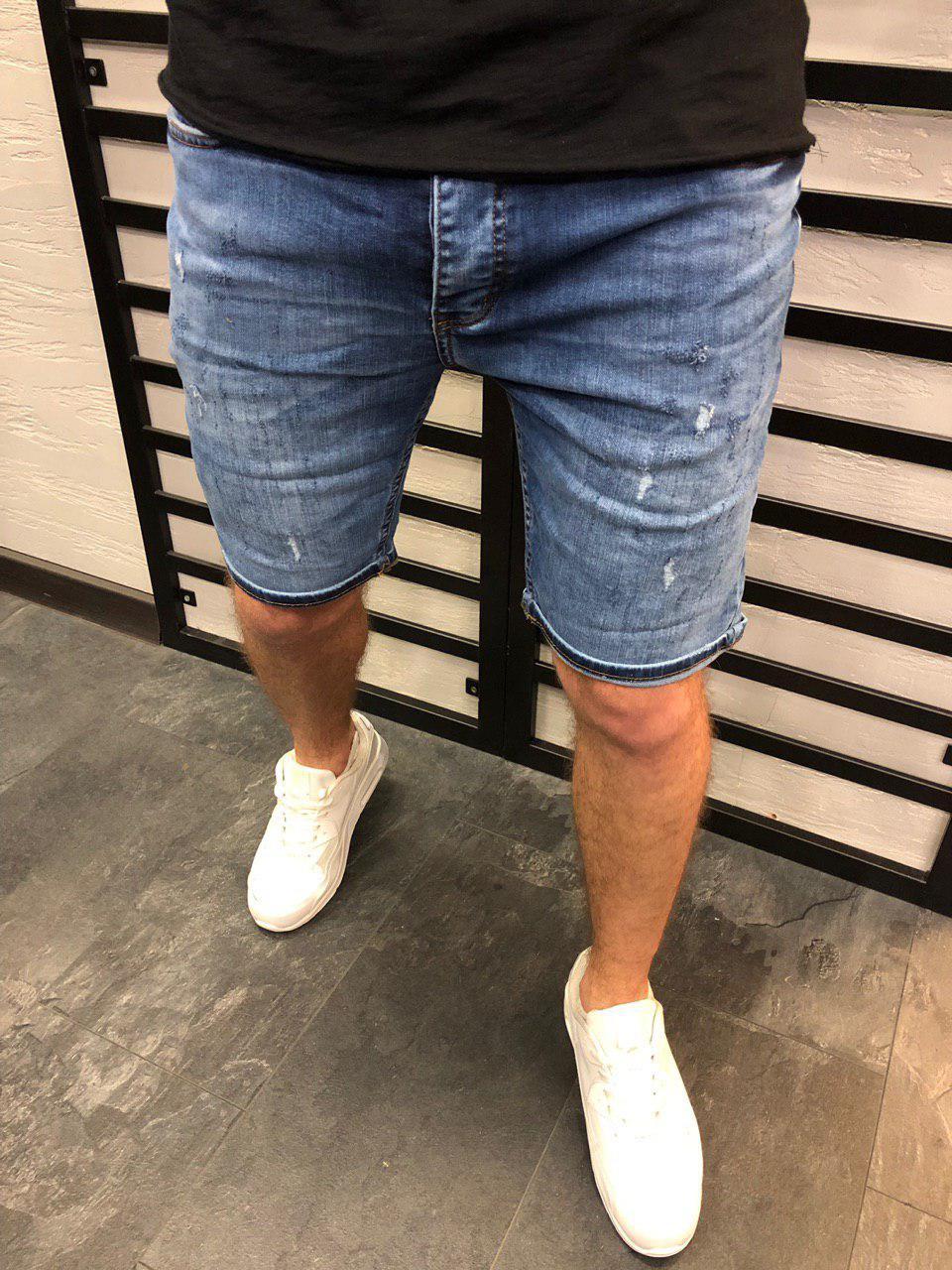 Мужские джинсовые шорты светло-синие 4274