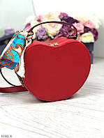 Женская сумочка через плечо на длинном ремешке сумка клатч красный кожзам