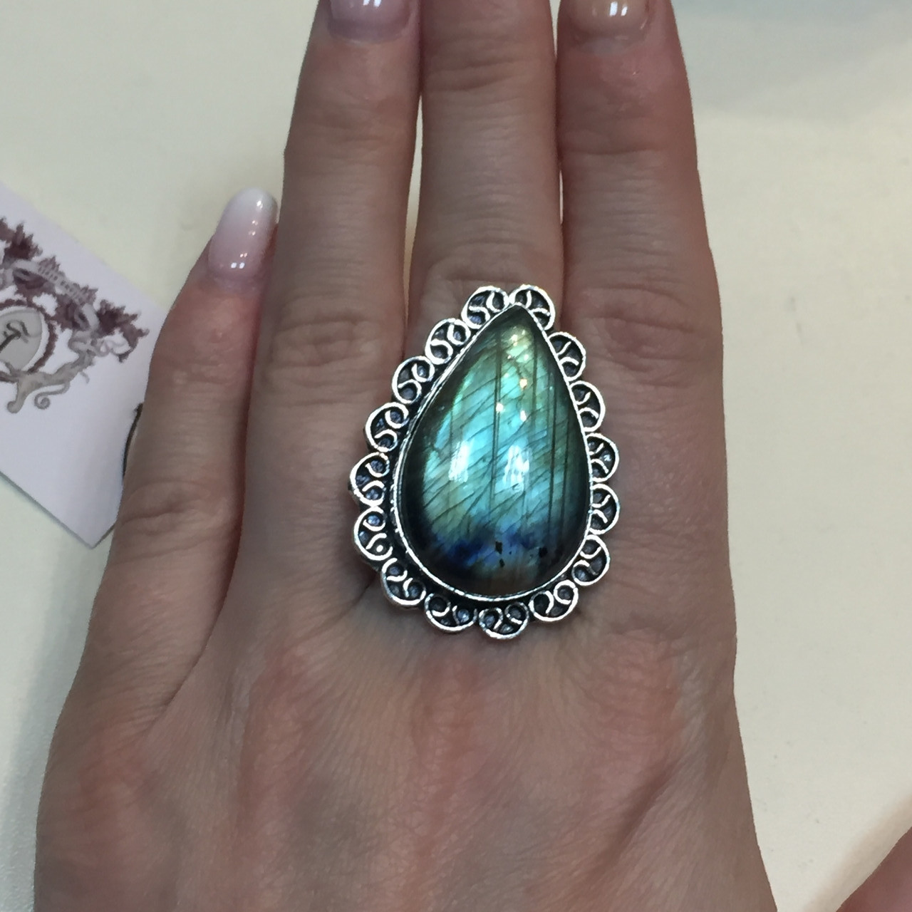 Лабрадор кольцо с натуральным лабрадором в серебре кольцо капля с лабрадором 20-20,2 размер Индия