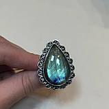 Лабрадор кольцо с натуральным лабрадором в серебре кольцо капля с лабрадором 20-20,2 размер Индия, фото 4