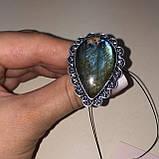 Лабрадор кольцо с натуральным лабрадором в серебре кольцо капля с лабрадором 20-20,2 размер Индия, фото 3