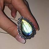 Лабрадор кольцо с натуральным лабрадором в серебре кольцо капля с лабрадором 20-20,2 размер Индия, фото 2