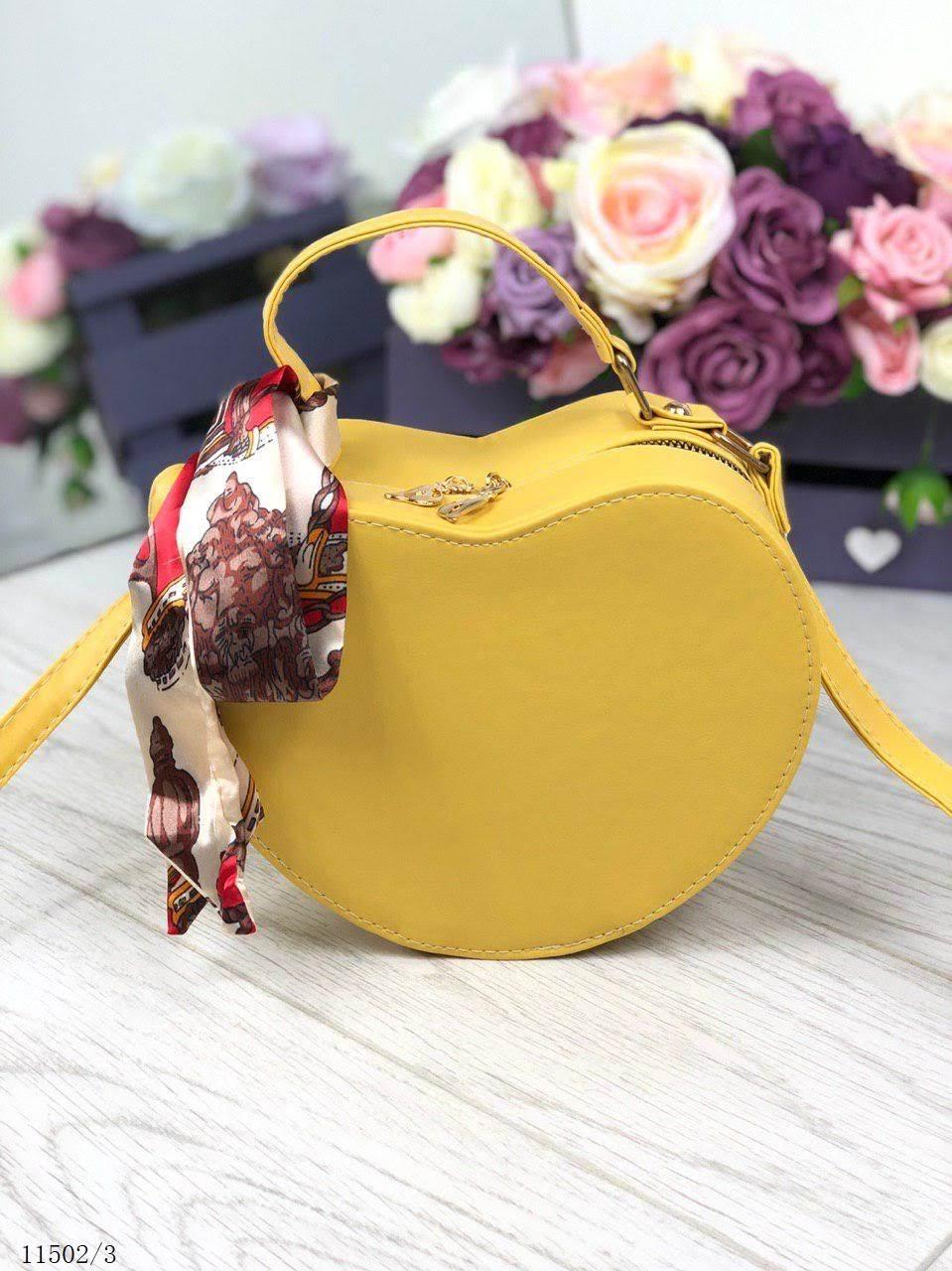 9bc7c30cb8eb Женская сумочка через плечо на длинном ремешке маленькая сумка кожзам желтая