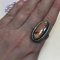 Кольцо лабрадорит спектролит перстень с натуральным лабрадором в серебре. Кольцо с лабрадором 20 размер Индия, фото 1