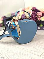 Маленькая женская сумочка через плечо клатч на длинном ремешке сумка кожзам голубая