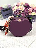 Женская сумочка через плечо клатч на длинном ремешке маленькая сумка кожзам фиолетовая