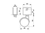 Меблевий ролик з U-подібним кріпленням GIFF MOBILI D=40 ЧОРНИЙ, фото 3