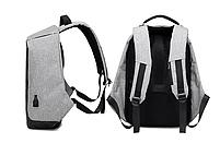 Рюкзак Bobby Бобби с защитой от карманников антивор USB разъем Серый, фото 2