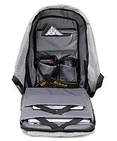 Рюкзак Bobby Бобби с защитой от карманников антивор USB разъем Серый, фото 4