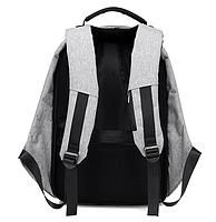 Рюкзак Bobby Бобби с защитой от карманников антивор USB разъем Серый, фото 5