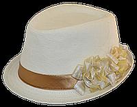 Шляпа челентанка цветы лен беж+беж