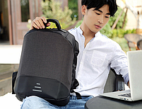 Городской рюкзак антивор с отделениям для ноутбука 15,6 USB Baibu Черный, фото 3