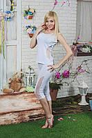 Костюм женский майка+капри  белый, фото 1