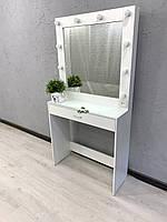 Стол для макияжа с зеркалом в раме, защитным стеклом на столешнице и черным выдвижным ящиком V441