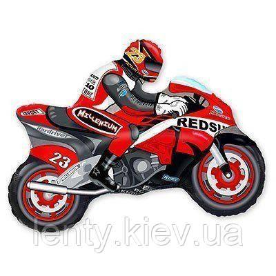 Фольгований куля фігурний Мотоцикліст 31 см червоний