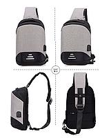 Сумочка-рюкзак антивор Baibu Mini с USB  рюкзак через плечо Синий, фото 10