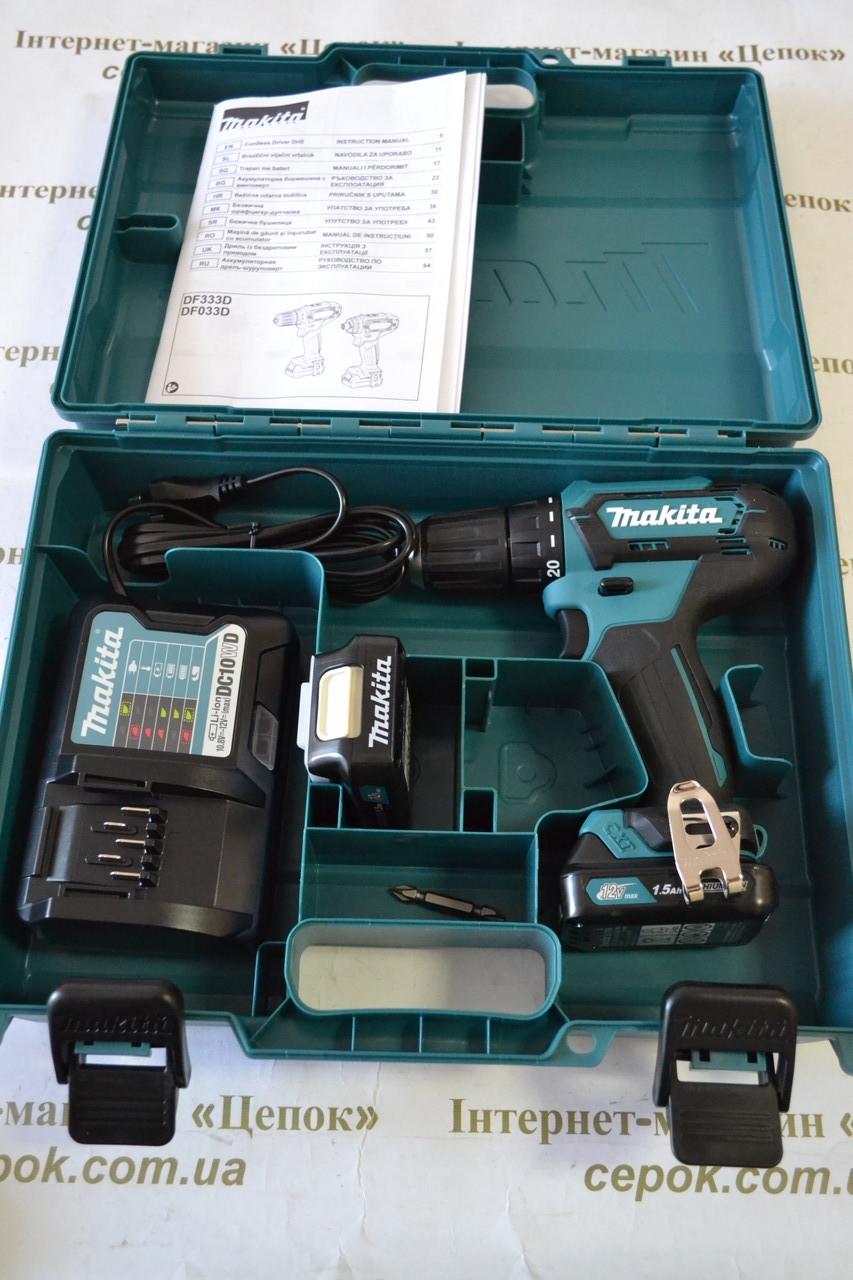 Аккумуляторный шуруповерт Makita DF333DWYE 12Vmax, 1.5Ah