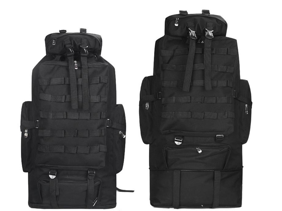 Тактический туристический  рюкзак  раздвижной на 80-100л TacticBag Черный