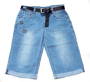 Бриджи для мальчика подростка джинсовые с поясом