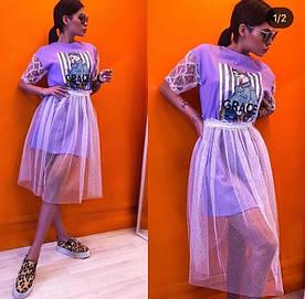Женское платье с фатином. Размеры s m l. Турция