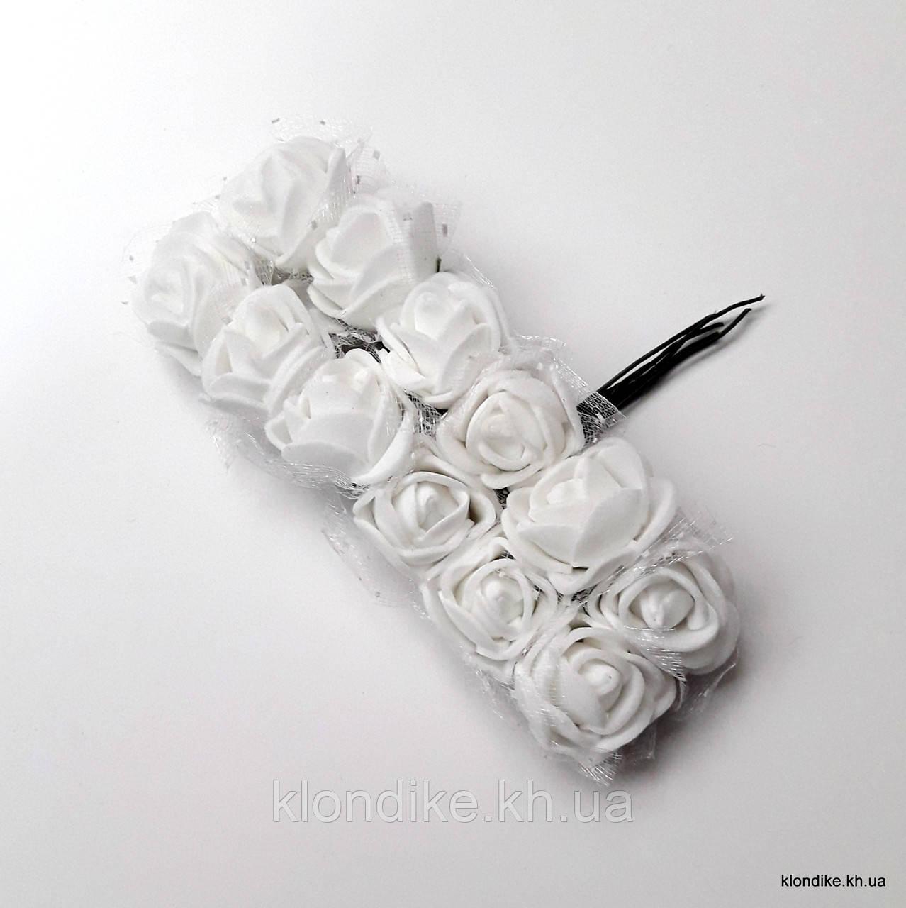 Букет розочек с фатином, Цвет: Белый