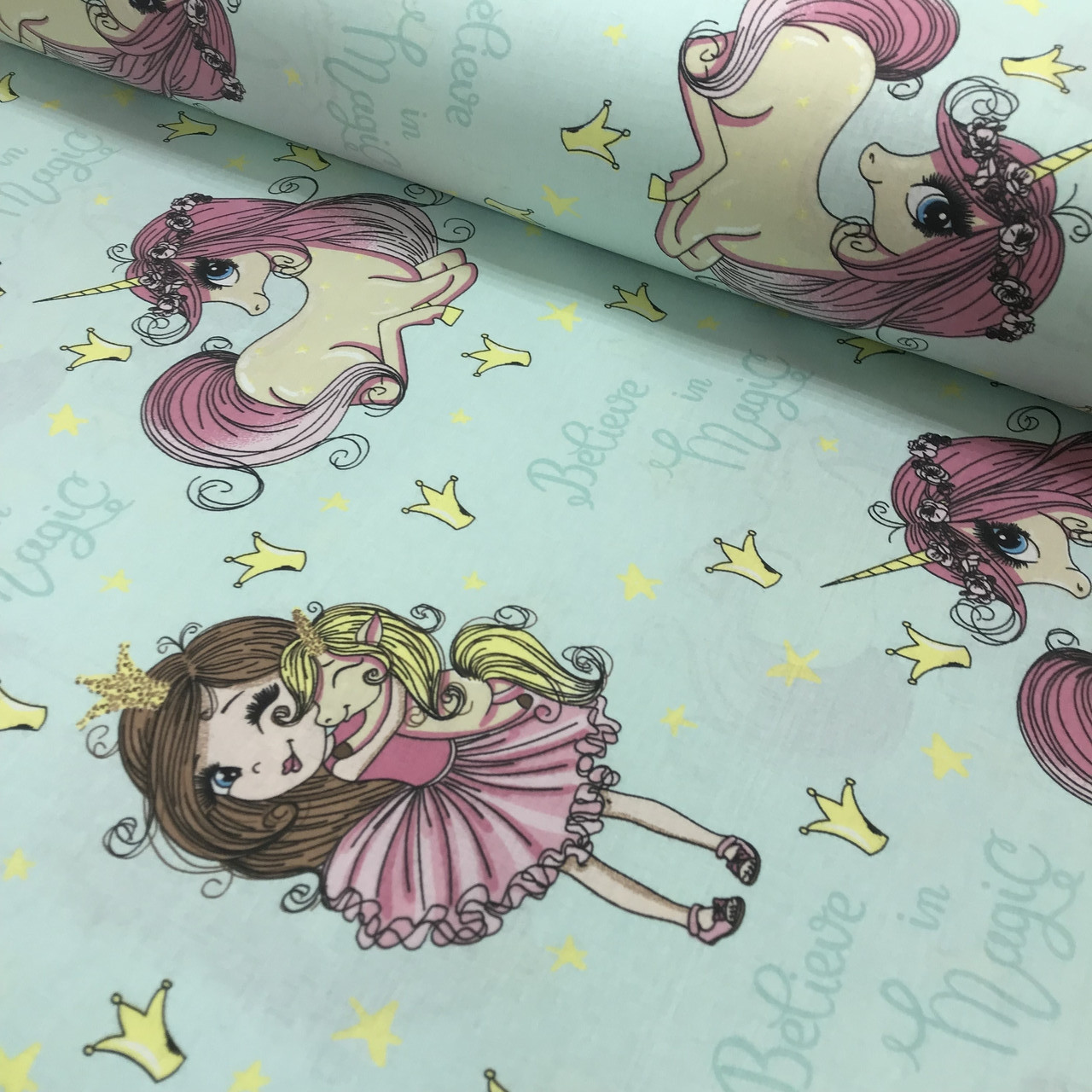 Хлопковая ткань (ТУРЦИЯ шир. 2,4 м) принцесса с единорогом ...