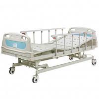 Кровать больничная с электромотором на колесах, с поручнями и регулировкой высоты, стальной каркас(4 секции) - OSD-B02P