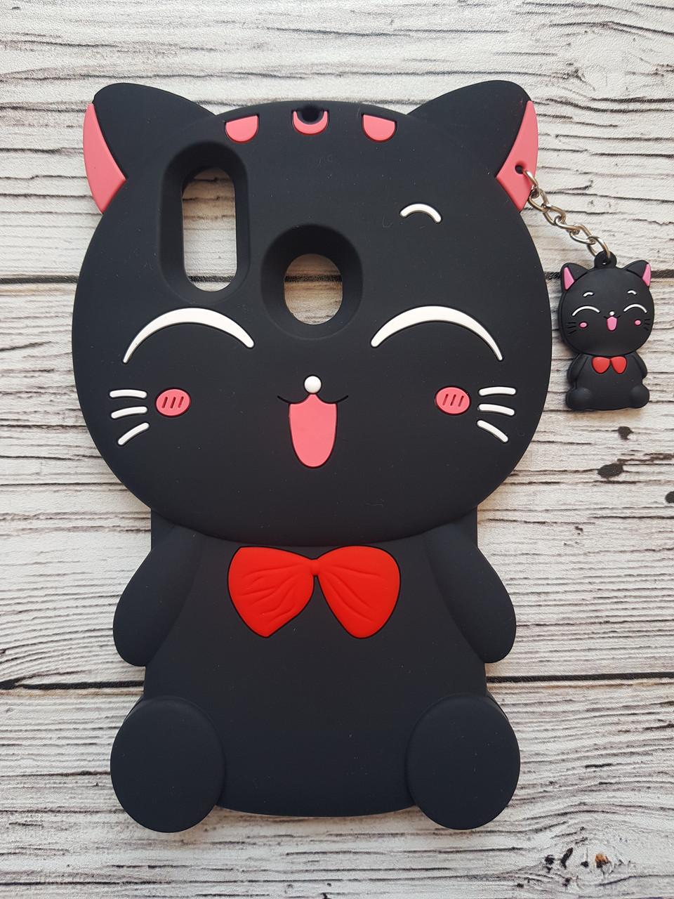 Объемный 3D силиконовый чехол для Huawei P Smart Plus Кошечка черная
