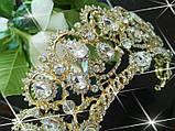 Корона, діадема, тіара під золото з перламутровими камінням, висота 6,5 див., фото 5
