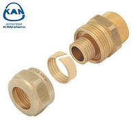 "KAN-therm соединитель латунный свинчиваемый для труб PE-x и PE-RT 14х2,0 мм, 1/2"" ВР, 9014.330"