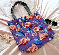 Эко сумка пляжная Фламинго, фото 1