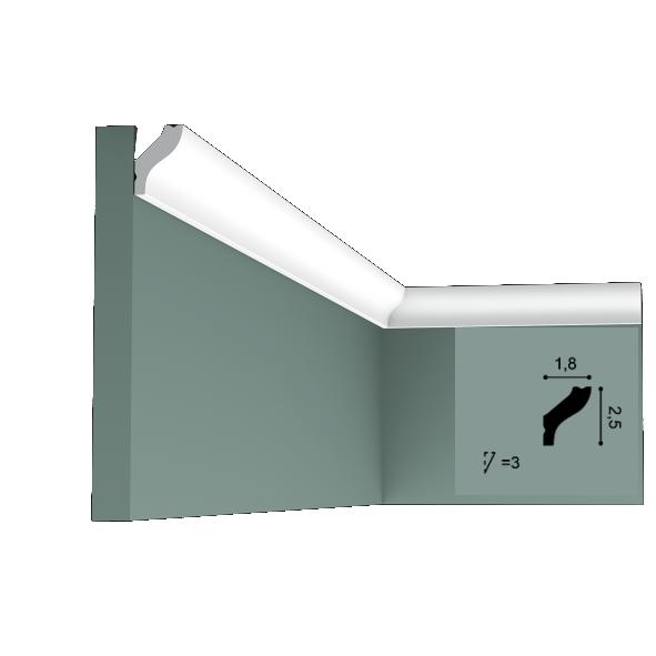 Карниз(плинтус) потолочный гладкий Orac Decor Basixx CB500N, лепной декор из пенопласта