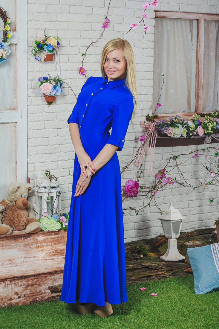 Платье летнее длинное электрик