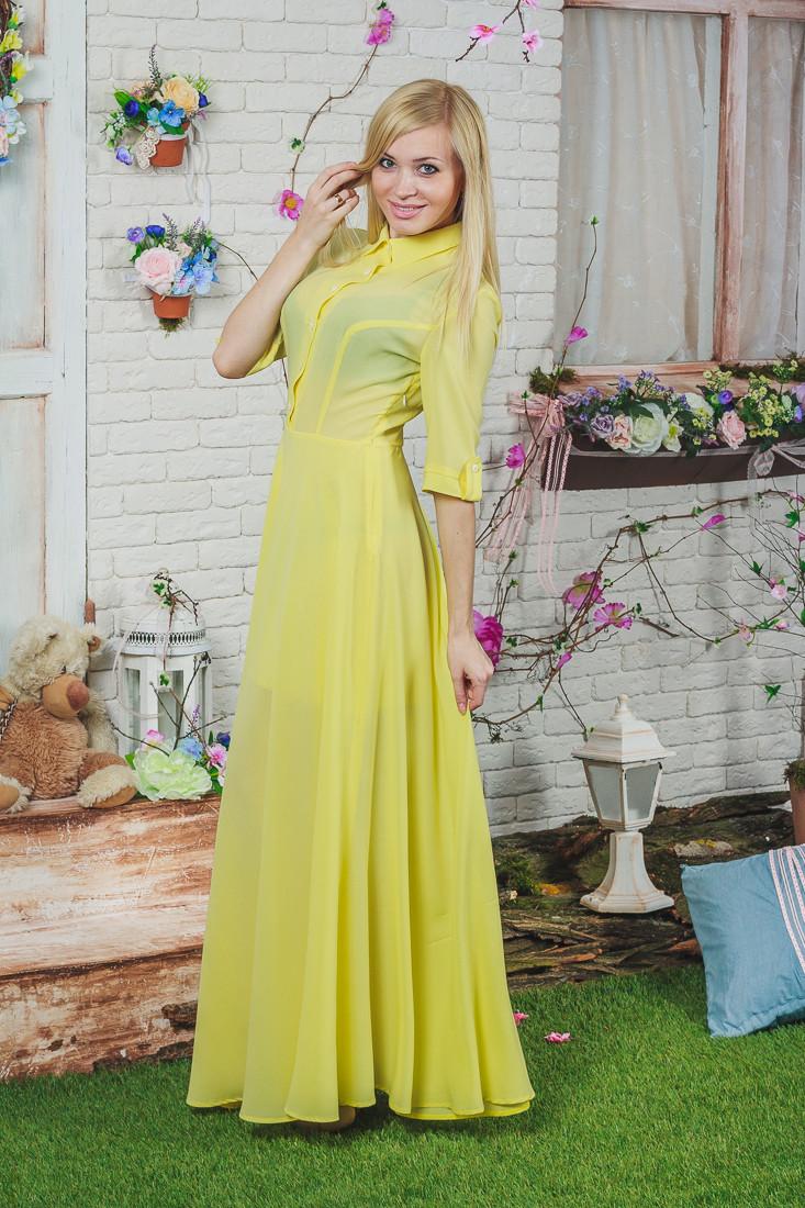 Платье летнее длинное желтое