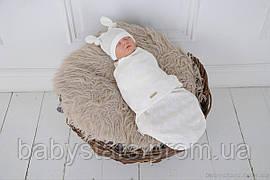"""Пеленки для новорожденных на липучках """"Wind"""" с шапочкой, молочного цвета, для деток 0-3 мес."""