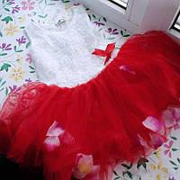 Нарядное летнее пышное платье  с лепестками для девочки на 2, 3 года на праздник, на день рождения