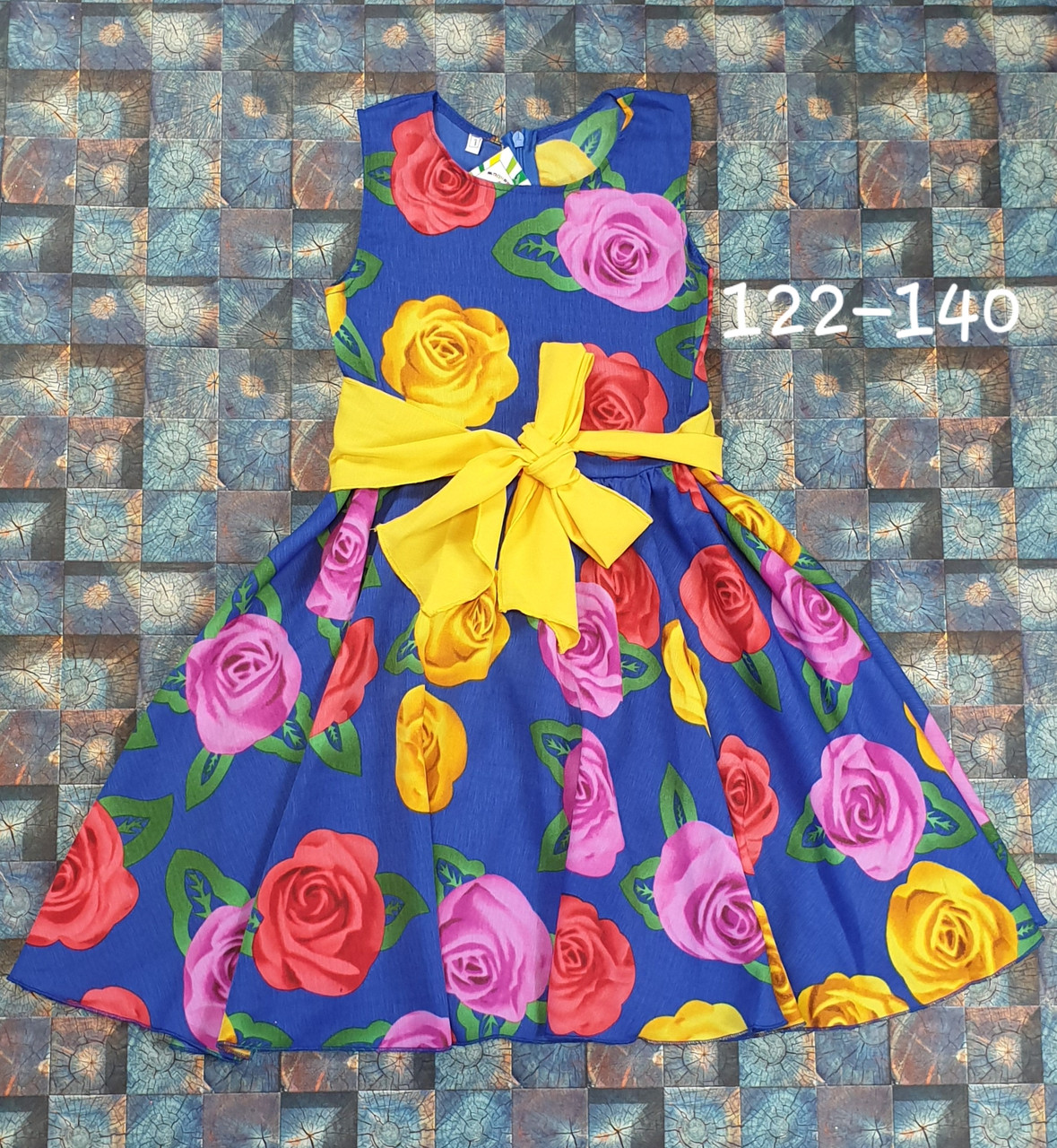 Платье  для девочки Фея 122-140  цветы на электрик