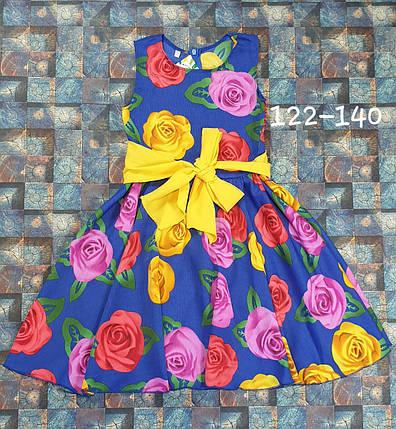 Платье  для девочки Фея 122-140  цветы на электрик, фото 2