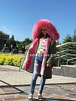 Парка на подростка с мехом, утеплитель-мутон