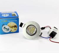Светодиодный Светильник Лампа SPOT-SL-3W 220V LED Хромированное Обрамление Круглая Врезная Лампочка