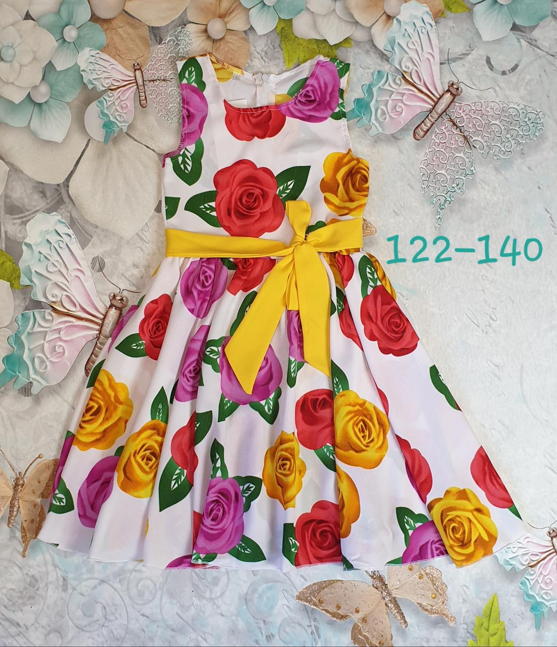 Платье  для девочки Фея 122-140  цветы на белом