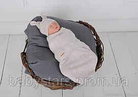 """Пеленки на липучках для новорожденных """"Wind"""" с шапочкой, бежевого цвета, для деток 0-3 мес."""