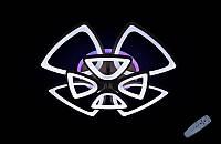 Светодиодная люстра с пультом-димером и цветной подсветкой черная 8118-4+4, фото 1
