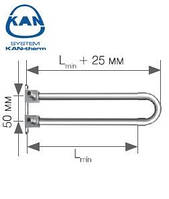 KAN-therm отвод спаренный Push с трубкой Cu d15 с кронштейном 14х2,0 мм Lmin=200 мм, 9014.460