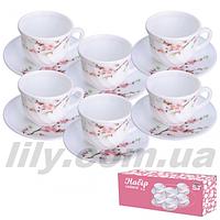 """30055 Набір чайний """"Японська вишня"""" 12 предм. (чашка 190мл, блюдце 14см)"""