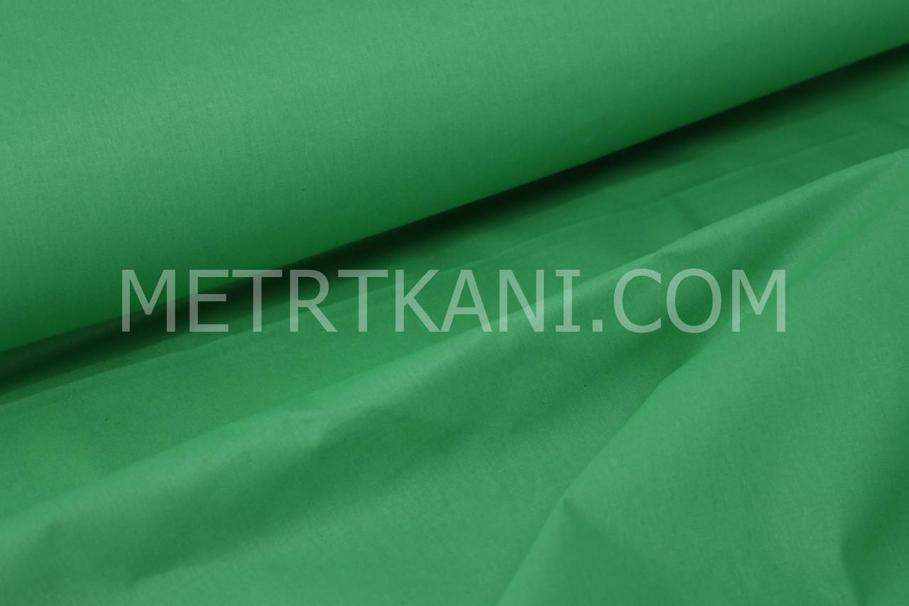 Однотонная польская бязь зелёного цвета, (цвета травы) 135 г/м2  №1477