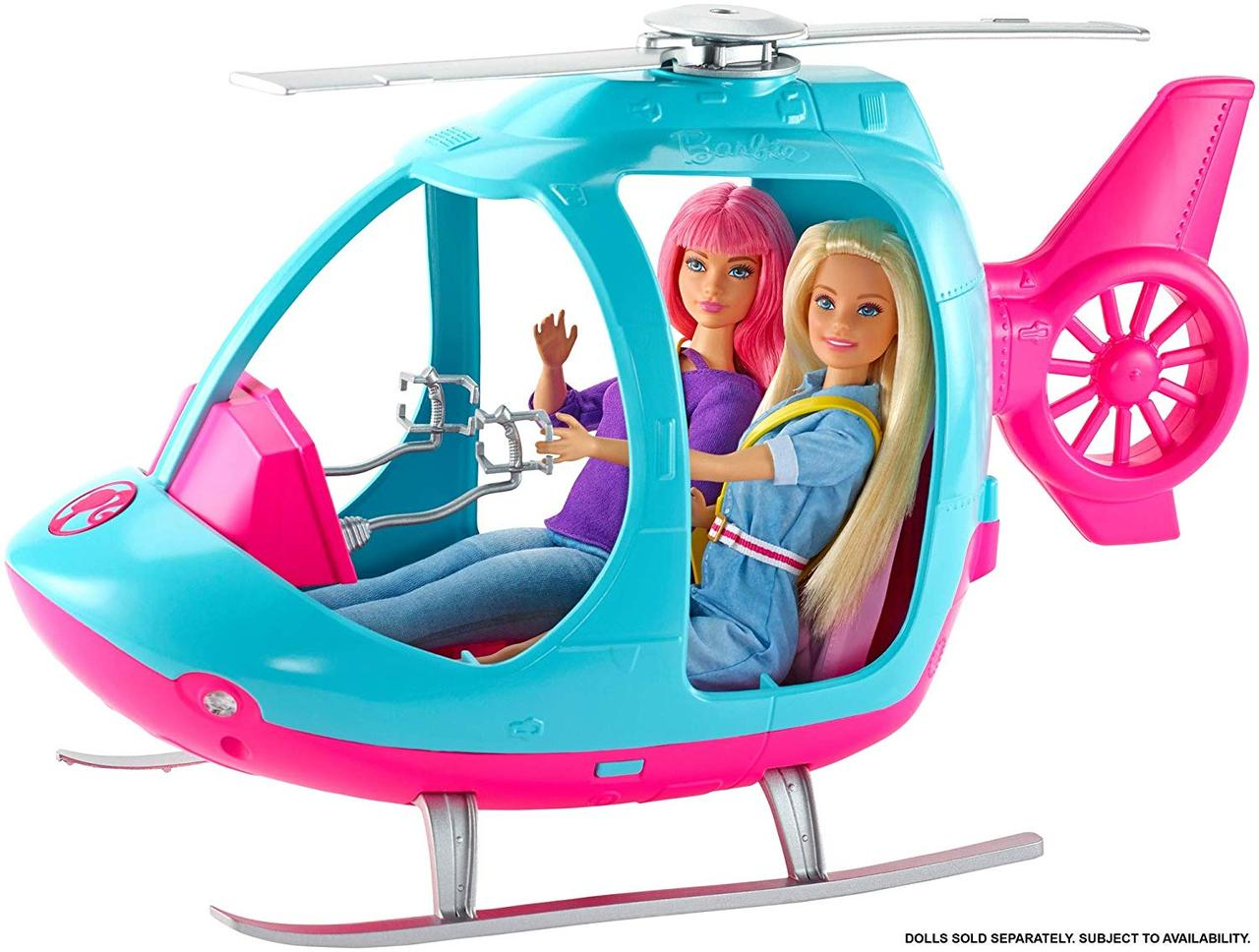 Барби Туристический вертолет Путешествия Barbie Helicopter Pink and Blue with Spinning Rotor